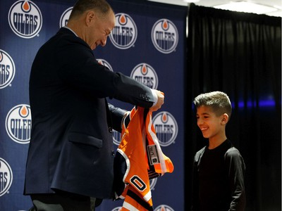 Sobhe Najmeddine was one of 65 kids who signed a one-day contract and became an Edmonton Oiler during Boston Pizza's Oiler for a Day event held at Rogers Place in Edmonton, on Sunday, March 1, 2020.