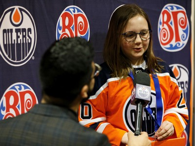 Reese Miller (right) is interviewed by Tony Brar, Oilers Digital Content Producer & Reporter, during Boston Pizza's Oiler for a Day event held at Rogers Place in Edmonton, on Sunday, March 1, 2020.