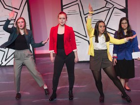 The Heathers from left, Allison Ross as Heather Duke, Sarah Ross as Heather Chandler,  Mya Eveleigh as Heather McNamara and Zinnia Jibran playing the part of Veronica. J. Percy Page Cappies performance of Heathers the musical (high school edition) on March 3, 2020.
