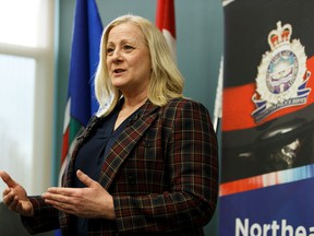 Edmonton Police Service Detective Linda Herczeg speaks about identity theft during a press conference at Edmonton Police Service Northeast Division Station in Edmonton, on Tuesday, March 10, 2020.