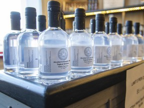 Stratford, Ontario's Junction 56 Distillery began making antiseptic hand sanitizer (pictured) last week to combat COVID-19. Beginning this week, B.C. distilleries will also be allowed to start making hand sanitizer, to help in the fight against COVID-19.