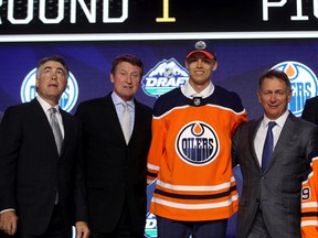 Philip Broberg reacts after being selected eighth overall by the Edmonton Oilers during the first round of the 2019 NHL Draft at Rogers Arena on June 21, 2019 in Vancouver.