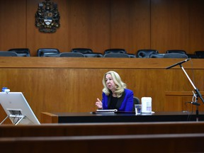 Court of Queen's Bench Chief Justice Mary Moreau speaks to reporters via teleconference in an Edmonton courtroom on April 7, 2020. Moreau held the press conference to inform the public about how courts are coping with COVID-19.