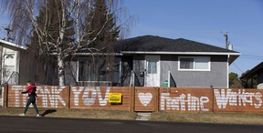 A sign of gratitude has been put on a fence on 79 Street near 98 A Avenue supporting frontline worker. Taken on Thursday, April 23, 2020 in Edmonton. Greg Southam/Postmedia