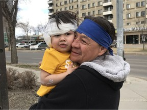 Kavana Starr, 2, and her grandfather, John Starr, after she was released from hospital on Thursday, April 23, 2020. Kavana Starr was attacked by a coyote in Coronation Park in west Edmonton on Tuesday, April 21, 2020.