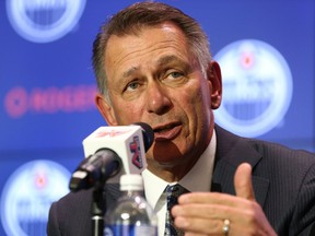 Ken Holland, the new general manager of the Edmonton Oilers, speaks during a press conference at Rogers Place in Edmonton, on Tuesday, May 7, 2019. Photo by Ian Kucerak/Postmedia