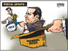 Fiscal update for city, province and federal government looks dismal. (Cartoon by Malcolm Mayes)