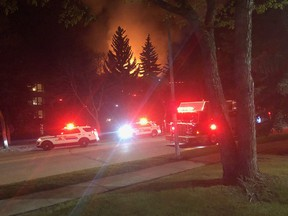 St. Albert firefighters responded to a blaze at an apartment building in the Grandin area around 1 a.m. Wednesday, May 27, 2020. Five people were sent to hospital. Images supplied by St. Albert Fire Services