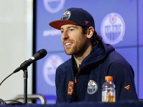 Edmonton Oilers' James Neal (18) is interviewed by media at Rogers Place on March 10, 2020.