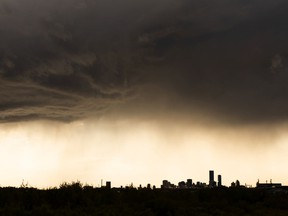 A thunderstorm rolls over Edmonton, seen from the east side of the city, on Wednesday, Aug. 26, 2020.