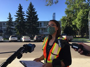 Jessica Lamarre, Director of Traffic Safety with the City of Edmonton speaks to media on Monday, Aug. 31 about traffic safety measures around schools as students prepare to return to class.