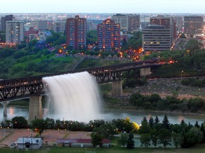 The High Level Bridge waterfall is seen from Saskatchewan Drive in Edmonton on July 1, 2004.