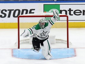 Anton Khudobin of the Dallas Stars celebrates an overtime series win against the Vegas Golden Knights during the first overtime period in Game 5 of the Western Conference Final during the 2020 NHL Stanley Cup Playoffs at Rogers Place on September 14, 2020.