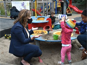 Minister of Children's Services Rebecca Schulz visits a daycare at Canada Place after annoucing with federal Minister of Families, Children and Social Development Ahmed Hussen who was online, new funding for the child care sector in Edmonton, September 22, 2020.