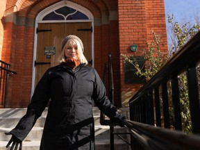 Heather Inglis, artistic producer of Edmonton's Workshop West Playwrights' Theatre, poses for a photo in Old Strathcona, in Edmonton, on Monday, Oct. 26, 2020. Inglis is producing mobile theatre pop ups outside Knox Church and the gazebo at Dr. Wilbert McIntyre Park. Photo by Ian Kucerak/Postmedia