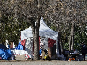 The homeless camp in Light Horse Park, in Edmonton Monday Oct. 12, 2020. Residents of the camp moved to the park after closing a protest homeless camp in Dr. Wilbert McIntyre Park.