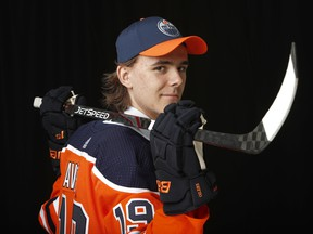 Raphael Lavoie poses after being selected 38th overall by the Edmonton Oilers during the 2019 NHL Draft at Rogers Arena on June 22, 2019, in Vancouver.