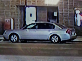 Leduc RCMP are searching for a silver or grey 4-door sedan after a break and enter to the Calmar Post Office. Supplied photo/RCMP