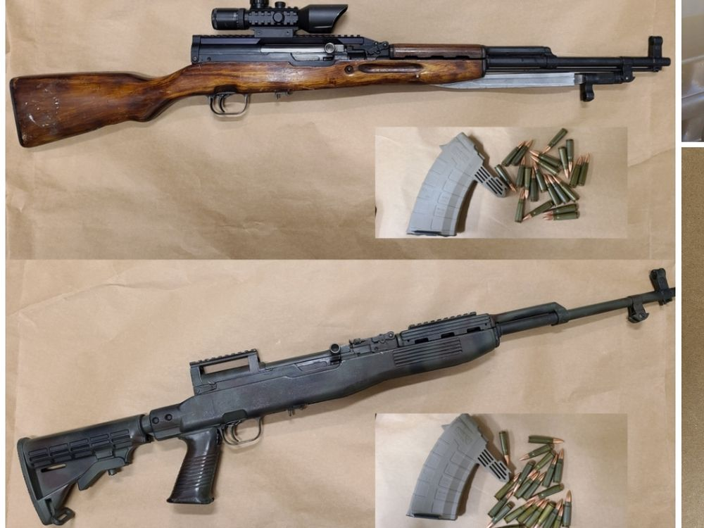 Lacombe police seize pair of loaded SKS rifles, 116 charges laid against four people