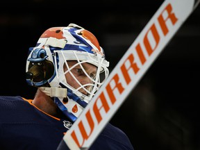 Edmonton Oilers goalie Mikko Koskinen (19) prepares to face the Vancouver Canucks in Edmonton on Thursday, Jan. 14, 2021.