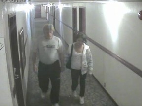 Bradley Barton, left, and Cindy Gladue are shown on surveillance video at the Yellowhead Inn in 2011. Barton's trial was postponed Monday after the accused developed COVID-19 symptoms.