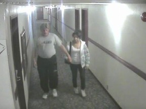 Bradley Barton and Cindy Gladue are shown on surveillance video at the Yellowhead Inn on the first of two nights the pair spent together. Supplied by court