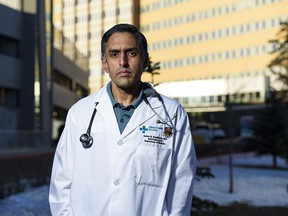 Dr. Sachin Pendharkar, respiratory physician and professor at the University of Calgary's Cumming School of Medicine, outside the Foothills Hospital on Jan. 22, 2021. Dr. Pendharkar is a respiratory physician working on the COVID-19 unit at Foothills.