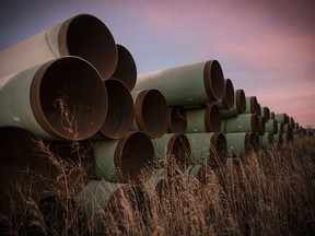 Unused pipe for the proposed Keystone XL pipeline sits in a lot outside Gascoyne, North Dakota, on Oct. 14, 2014.