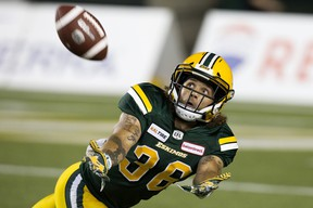Edmonton Football Team defensive halfback Aaron Grymes (36) tracks the ball against the Saskatchewan Roughriders at Commonwealth Stadium in this file photo from Aug. 2, 2018.