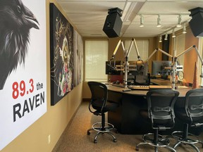 The Raven Studio in Edmonton. The new radio station, featuring Indigenous language programming, launched Monday, Feb. 1, 2021.