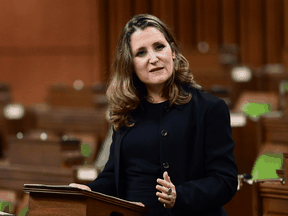 Finance Minister Chrystia Freeland delivers the 2020 fiscal update in the House of Commons on Monday, Nov. 30, 2020.