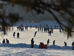 People came out in droves to enjoy the warmer weather skating at Hawrelak Park in Edmonton, January 30, 2021. Ed Kaiser/Postmedia