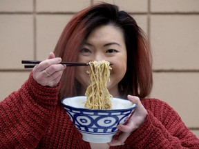 Catherine Lee-Hannley poses with a bowl of her Nai Nai Mie handcrafted noodles. Photo by David Bloom/Postmedia