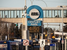 The Century Park Transit Station is seen in Edmonton, on Wednesday, Feb. 24, 2021. The station was the location of the sixth recent attack on a Muslim woman in the city. According to police and the victim, a man threatened a woman in a hijab on Feb. 17 in the station.