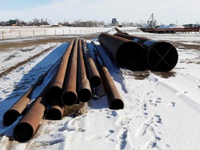 A supply depot servicing the Keystone XL crude oil pipeline lies idle in Oyen, Alberta.