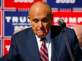 Former New York City Mayor Rudy Giuliani speaks in Philadelphia, Nov. 7, 2020.