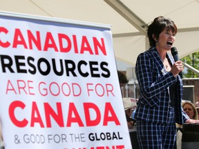 Alberta Energy Minister Sonya Savage spoke to several thousand pro pipeline protesters rallying at Stampede Park during the Global Petroleum Show in Calgary on Tuesday, June 11, 2019. File photo.