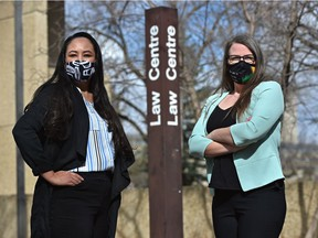 Second year law students, Amy Durand, right, and Anita Cardinal-Stewart are raising concerns over a proposed 45% hike to tuition for incoming law students, that if approved, would go into effect in fall 2022.