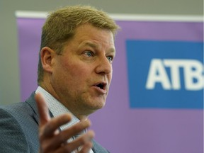 Curtis Stange speaks to news media in Edmonton on Thursday May 17, 2018. ATB Financial announced the name of its next President & CEO on Thursday May 17, 2018. Stange will replace Dave Mowat, who announced his retirement in January. Mowat's final day at ATB will be June 30, 2018.