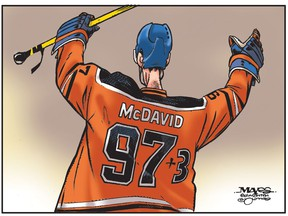 Connor McDavid reaches100 points in just 53 games. (Cartoon by Malcolm Mayes)