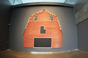 Jude Griebel's Barn Skull installed in the Art Gallery of Alberta, reopening this weekend.