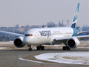 A WestJet Boeing 787 Dreamliner arrives in Calgary from London on Tuesday, March 17, 2020.