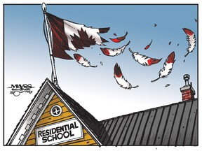 Death of Indigenous children at residential schools shreds Canadian flag. (Cartoon by Malcolm Mayes)