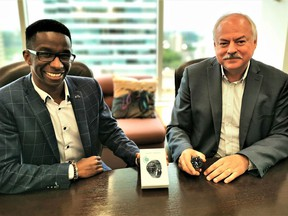 Lenica Research Group CEO and founder Simba Nyazika, left, and Health Gauge CEO Randy Duguay announced their partnership on Thursday, June 17, 2021.