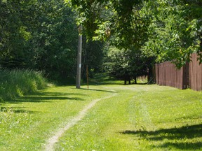 Two Muslim women wearing hijabs were walking on a footpath near Alderwood Park in St. Albert, similar to the one shown in this photo, at approximately 12:30 p.m. on Wednesday, June 23, 2021, when a man with a knife allegedly assaulted them. The suspect is still at large.