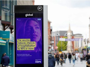 An advertisement is seen amid the spread of COVID-19 in Leicester, U.K., on May 27, 2021.