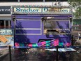 The Snickerdoodle's food trailer lies in ruin at Sir Winston Churchill Square after a fire injured a worker and destroyed the trailer on July 22, 2021 at the Taste of Edmonton.
