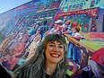 2021 Edmonton International Fringe Theatre Festival interim executive director Megan Dart was all smiles during the festival launch outside the ATB Financial Arts Barns in Edmonton on Wednesday, July 8, 2021.