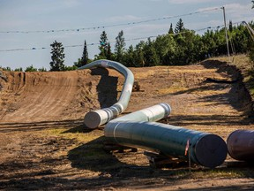 Sections of the Enbridge Line 3 pipeline are seen on the construction site on the White Earth Nation Reservation near Wauburn, Minnesota, on June 5, 2021.