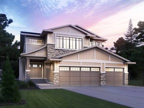 The front exterior of the Cash & Cars Lottery Edmonton grand prize by Kimberley Homes.